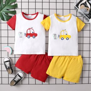 Vehicle Print Color Block Tee and Shorts Athleisure Set for Toddlers/Kids