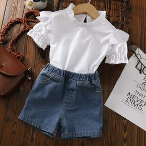 Toddler Girl Ruffle-sleeve White Solid Top And Shorts Jeans