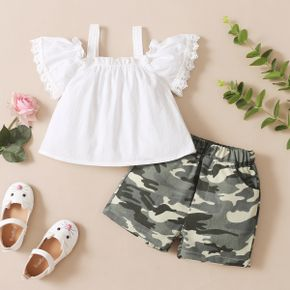 2-piece Toddler Girl Ruffled Lace Decor Sleeve Strappy Solid Top and Camouflage Print Shorts with Pocket Set