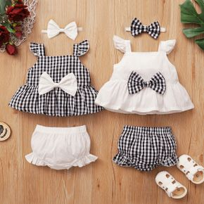 3pcs Baby Girl Flutter-sleeve Sweet Plaid Bowknot Baby's Sets