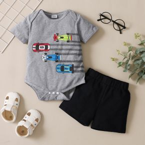 2-piece Baby Boy Car Vehicle Print Short-sleeve Romper and Solid Shorts Set