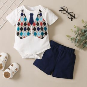2-piece Baby Boy Plaid Tie Print Short-sleeve Romper and Solid Shorts Set