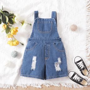 Toddler Girl Ripped Backless  Denim Overalls with 3 Pockets