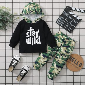 2-piece Baby Boy Letter Camouflage Print Hoodie and Elasticized Pants Set
