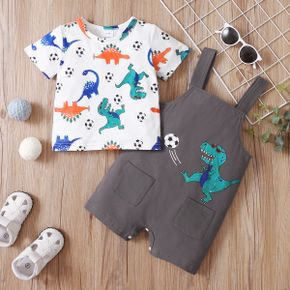 2-piece Baby Boy Ball Dinosaur Print Tee and Overalls with Pocket Set