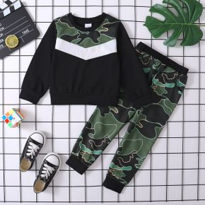 2-piece Toddler Boy Colorblock Camouflage Print Pullover Top and Elasticized Pants Set