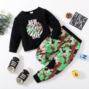 Toddler Boy Letter Camouflage Print Pullover and Elasticized Pants Set