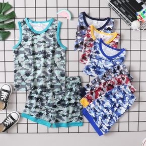 Dinosaur Camo Print Tank Top and Shorts Athleisure Set for Toddlers/Kids