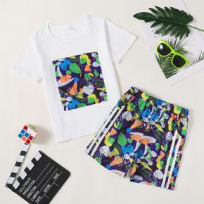 Color Block Tee and Striped Shorts Athleisure Set for Toddlers/Kids