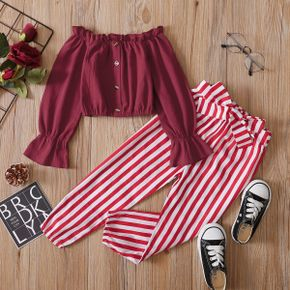 2-piece Toddler Girl 100% Cotton Off Shoulder Button Design Long Ruffle-sleeve Solid Red Top and Striped Pants with belt Set