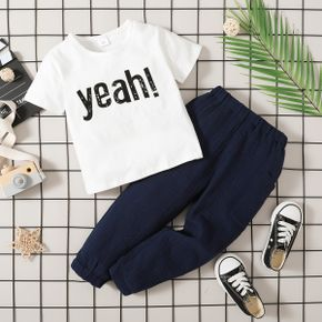 2-piece Toddler Boy Letter Print Round-collar T-shirt and Elasticized Solid Pants with Pocket Set