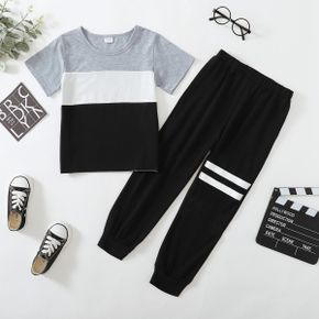 2-piece Kid Boy Colorblock Casual T-shirt and Striped Elasticized Pants Casual Sporty Set
