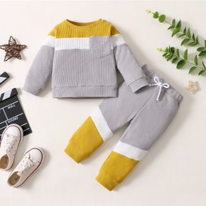 2-piece Baby Girl/Boy Colorblock Pullover with Pocket and Bowknot Elasticized Pants Set