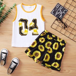 Sunflower or Camo and Number Print Tank Top and Shorts Athleisure Set for Toddlers/Kids