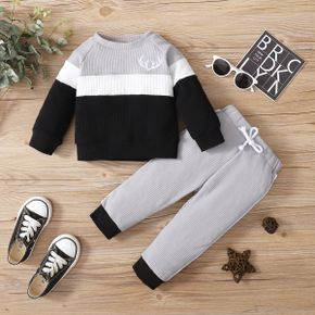 2-piece Baby Boy Deer Antlers Embroidery Colorblock Pullover Sweatshirt and Elasticized Pants Set