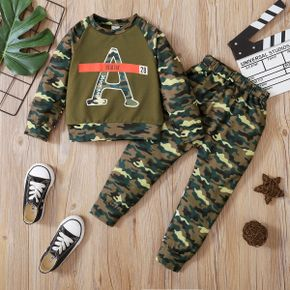 2-piece Toddler Boy Letter Camouflage Print Pullover and Elasticized Pants Set