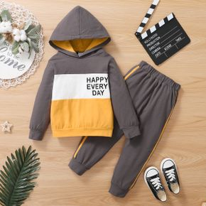 2-piece Toddler Boy Letter Print Colorblock Hoodie and Elasticized Striped Pants Set