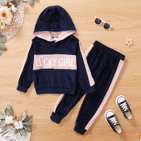 2-piece Toddler Girl Letter Print Colorblock Hoodie Sweatshirt and Elasticized Pants Casual Set
