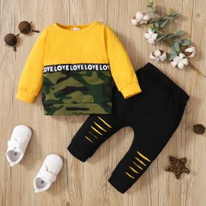 Baby Boy 2pcs Letter Camo Splice Long-sleeve Pullover and Hollow Out Trouser Set