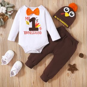 Baby 3pcs Thanksgiving Day Letter Print Bow Tie Long-sleeve Romper Set