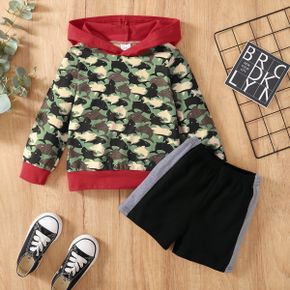2-piece Toddler Boy Shark Camouflage Print Hoodie and Colorblock Shorts Set