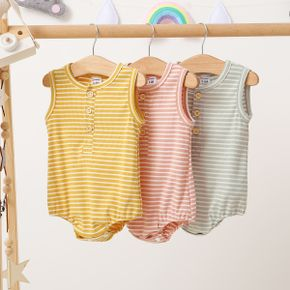Baby Solid Striped Sleeveless Romper