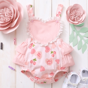 Baby Girl Sweet Heart-shaped Rompers & Bodysuits