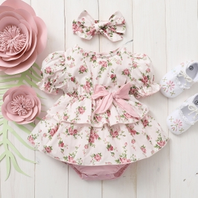 100% Cotton 2pcs Floral Allover Puff-sleeve Pink Baby Set