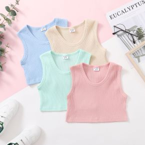 Basic Solid Athleisure Tank Top for Girls