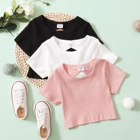 Multi Color Solid Rib Knit Short-sleeve Athleisure Top for Toddlers / Kids