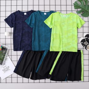 Camouflage Print Tee and Shorts Athleisure Set for Toddlers/Kids
