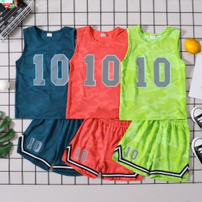 Camouflage Number '10' Print Tank Top and Shorts Athleisure Set for Toddlers / Kids