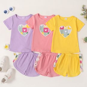 Heart Print Tee and Shorts Athleisure Set for Toddlers/Kids