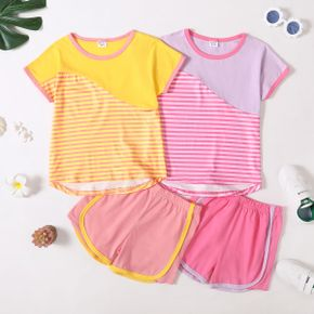 Stripe Color Block Tee and Shorts Athleisure Set for Toddlers/Kids