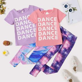 'DANCE' Letter Print Tee and Galaxy Print Pants Athleisure Set for Toddlers/Kids