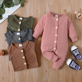 Solid Long-sleeve Baby Jumpsuit