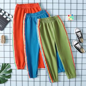 Rainbow Color Contrast Athleisure Pants for Toddlers / Kids