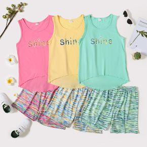 'Shine' Print Tank Top and Shorts Athleisure Set for Toddlers/Kids