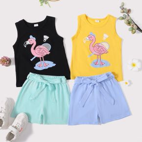 Flamingo Print Tank Top and Shorts Athleisure Set for Toddlers/Kids