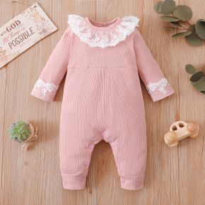Ribbed Solid Lace Decor Long-sleeve Pink Baby Jumpsuit