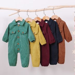 Solid Lapel Collar Long-sleeve Baby Jumpsuit