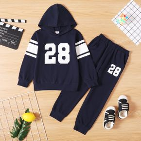 2-piece Kid Boy Number Print Hoodie and Elasticized Pants with Pocket Sporty Set