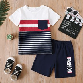 2-piece Kid Bot Striped Colorblock Casual T-shirt and Letter Print Elasticized Shorts Set