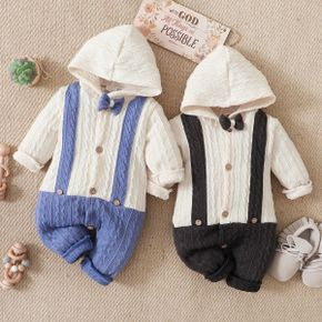 Solid Splice Faux-two Design Bow Tie Decor Hooded Long-sleeve Baby Jumpsuit