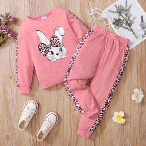 2-piece Kid Girl Cute Rabbit Leopard Print Pullover and Elasticized Pants Casual Set