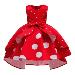 Baby / Toddler Girl Sweet Polka Dots Irregular Short-sleeve Party Dress