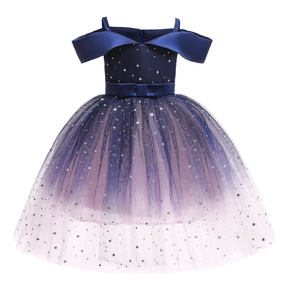 Elegant Starry Gradient Color Mesh Party Dress