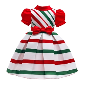 Toddler Girl Bowknot Stripe Puff-sleeve Party Dress