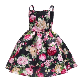 Fashionable Kid Girl Sleeveless Floral Print Costume Party dress