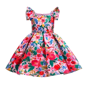 Toddler Girl Floral Print Flutter-sleeve Princess Costume Party Pleated Dress